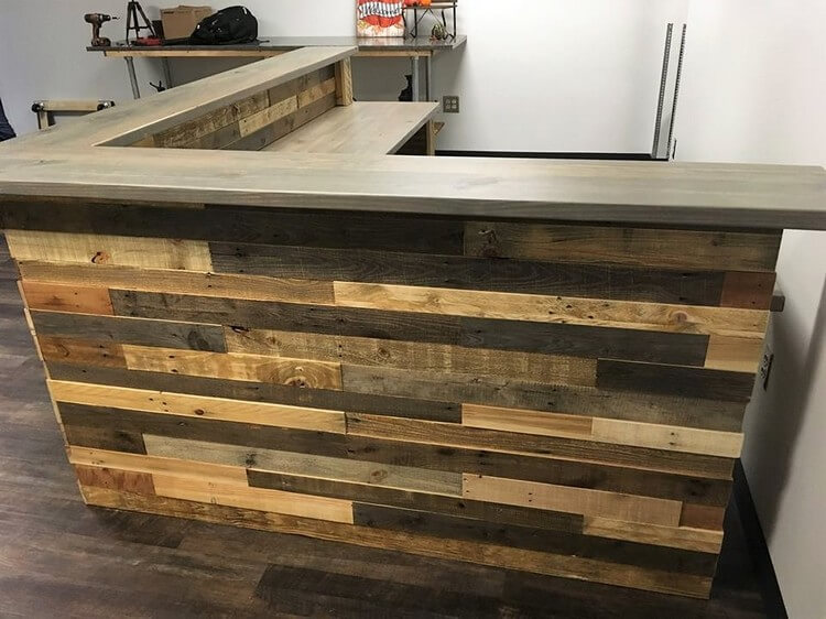 Wood Pallets L Shape Desk Counter And Bar Table Pallet