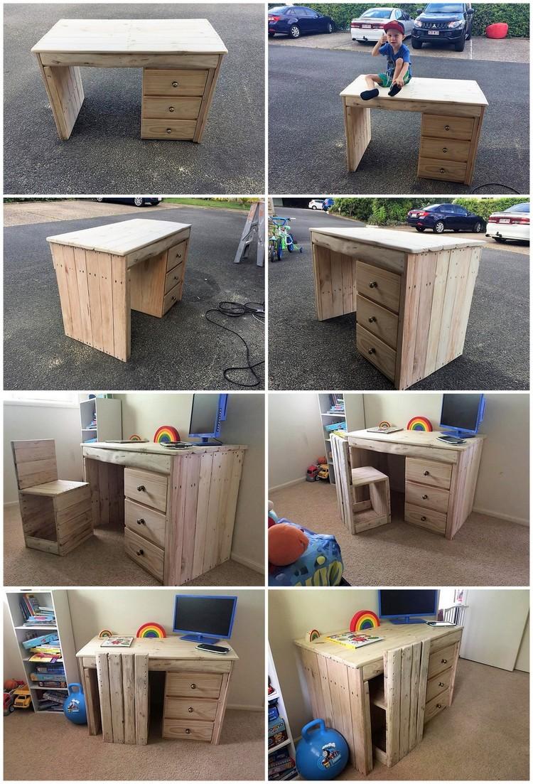 DIY Pallet Computer Table or Study Desk for Kids