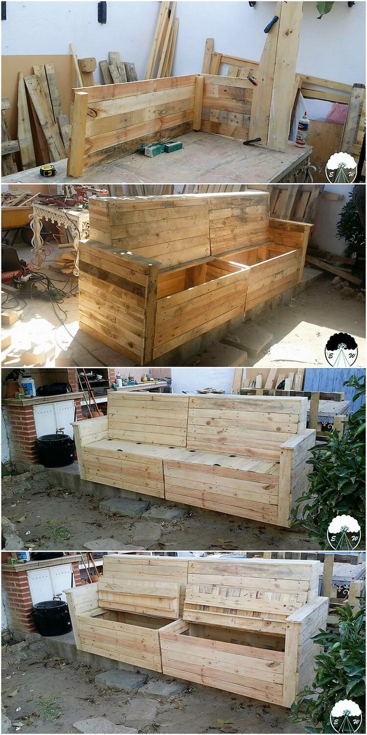 DIY Pallet Couch with Storage