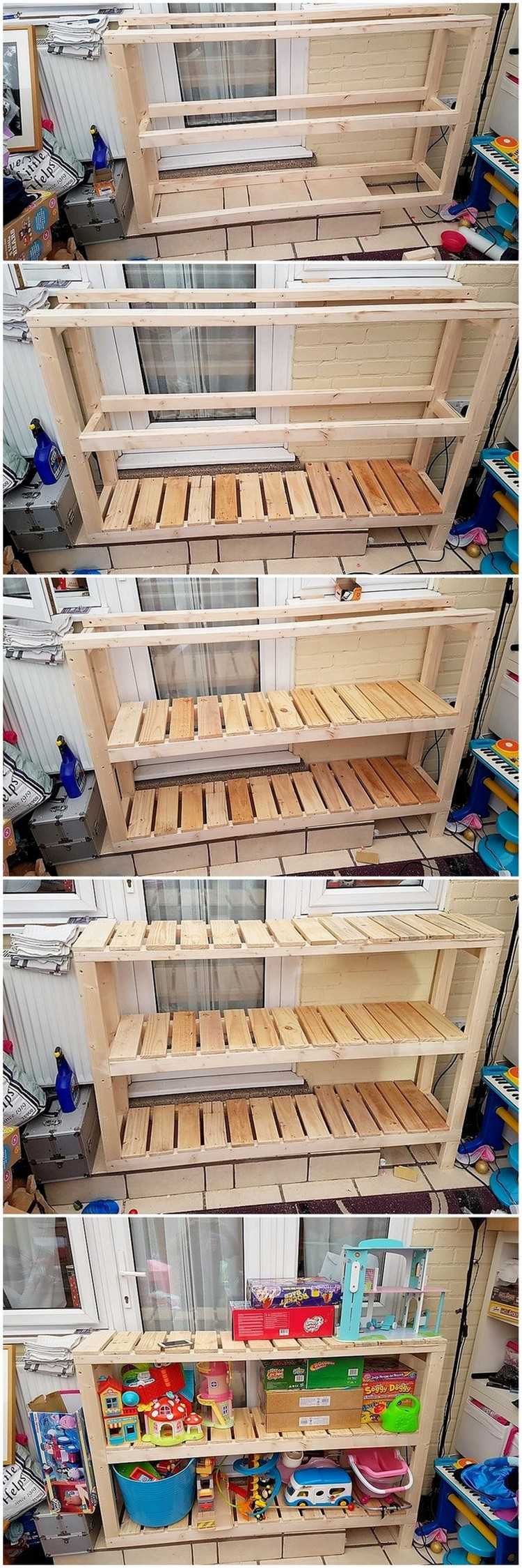 DIY Pallet Shelving Table Plan Step by Step