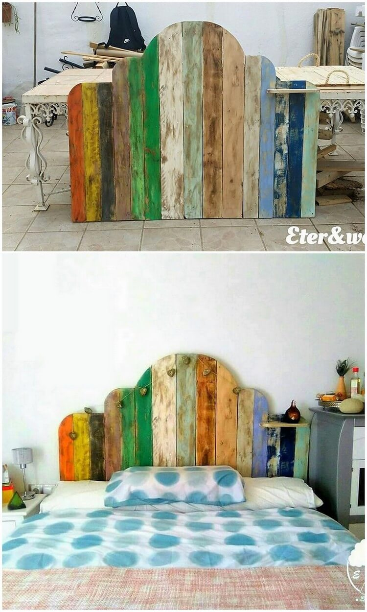 Artistic ideas using old wasted wood pallets pallet wood for Painted on headboard