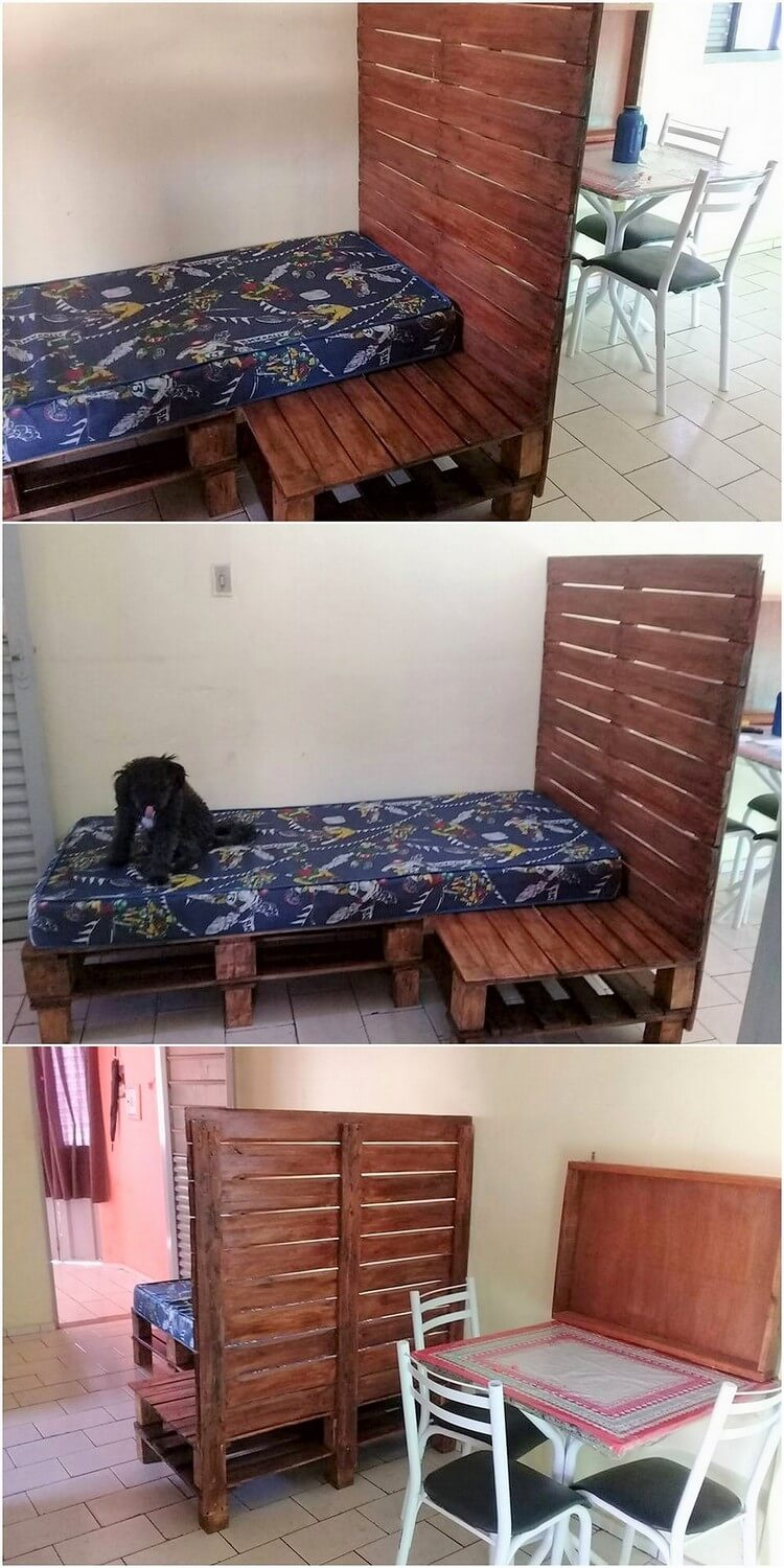 Pallet Bed with Long Headboard