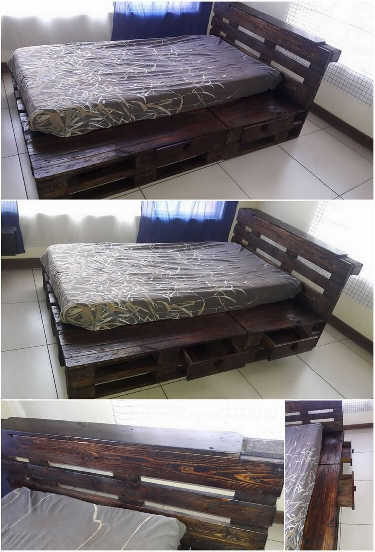 Pallet Bed with Side Drawers