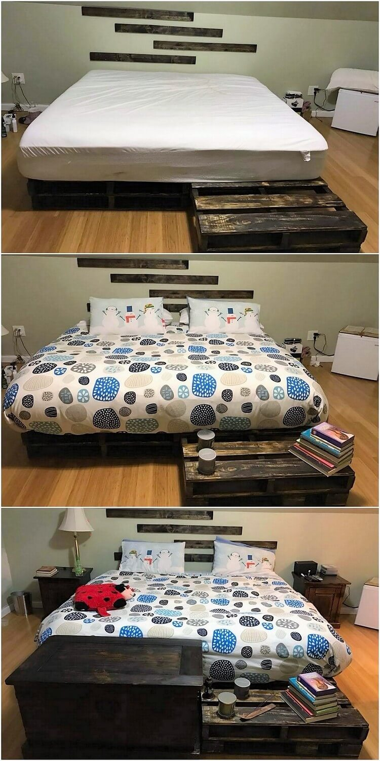 Pallet Bed with Table
