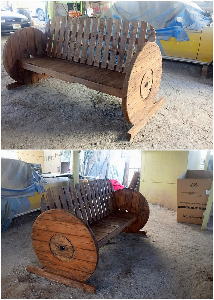 Pallet Bench with Round Wheels