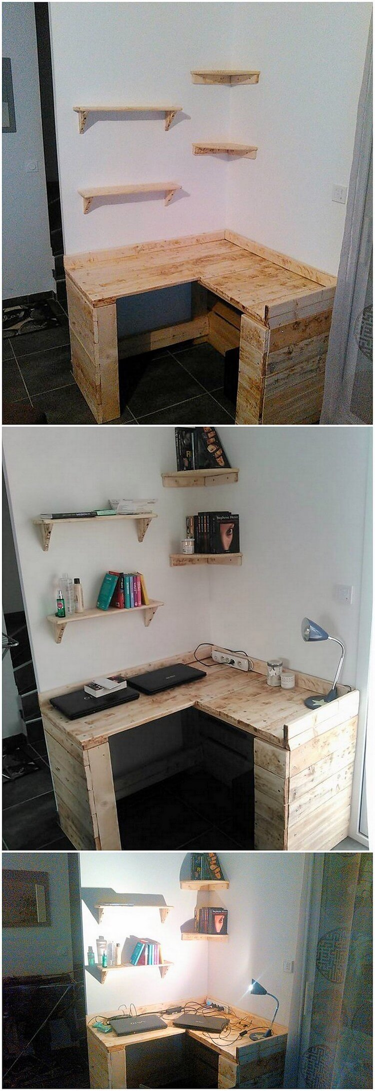 Pallet Corner Study Table and Wall Shelves