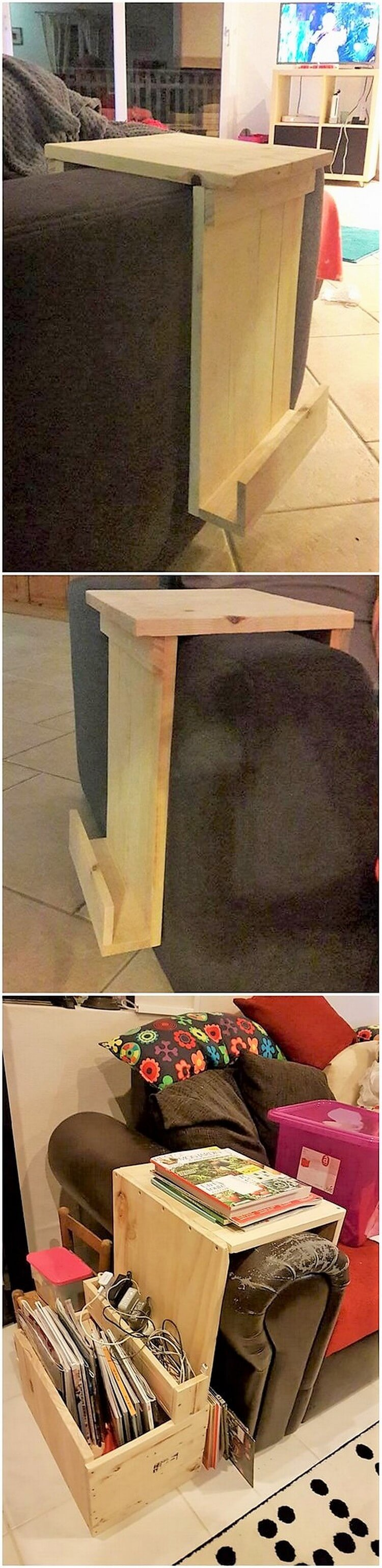 Pallet Couch Side Table with Book Storage