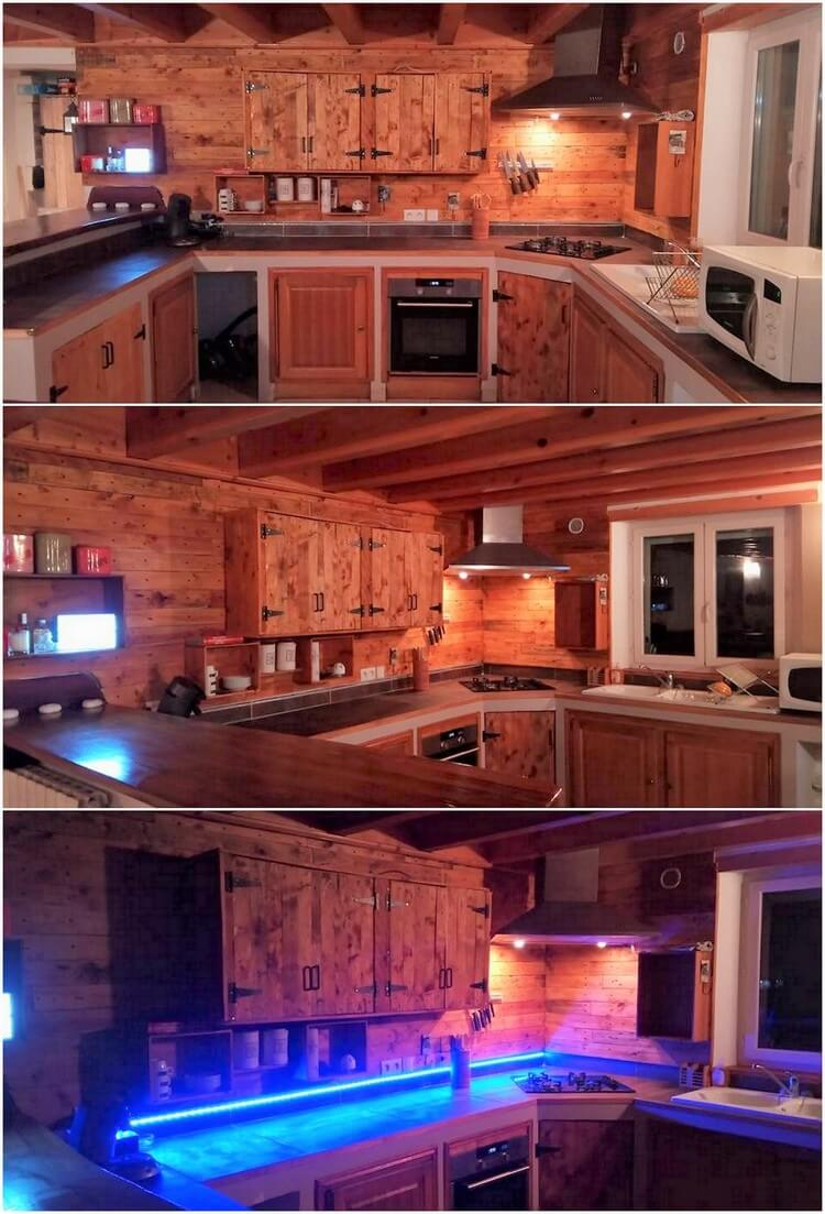 Pallet Kitchen Cabinets and Wall Paneling
