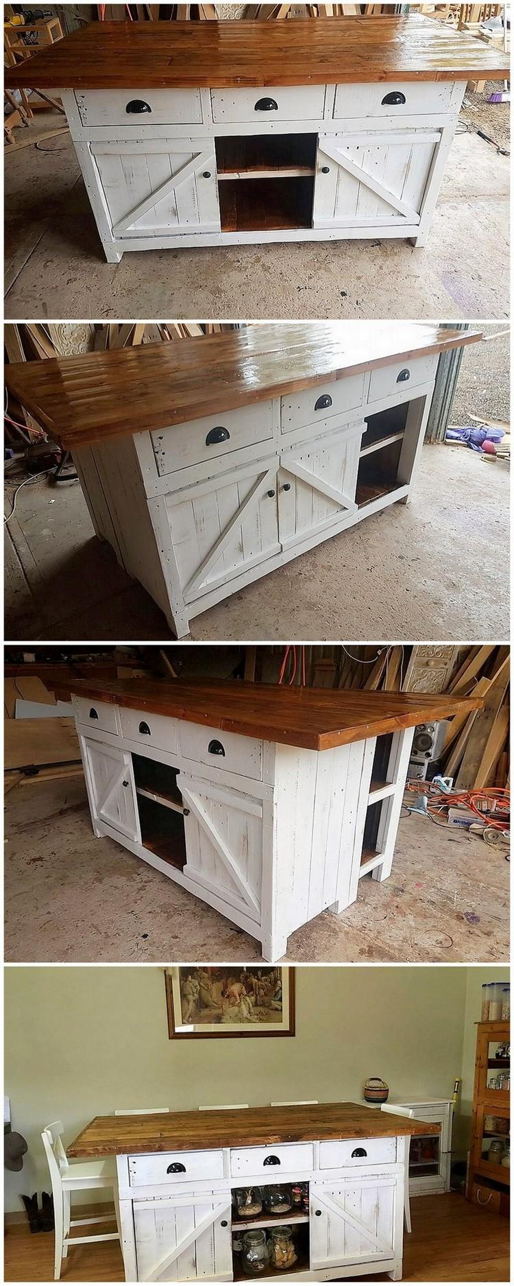 Palette Kücheninsel Tisch oder Schrank mit Schiebetüren - DIY ideen 2018