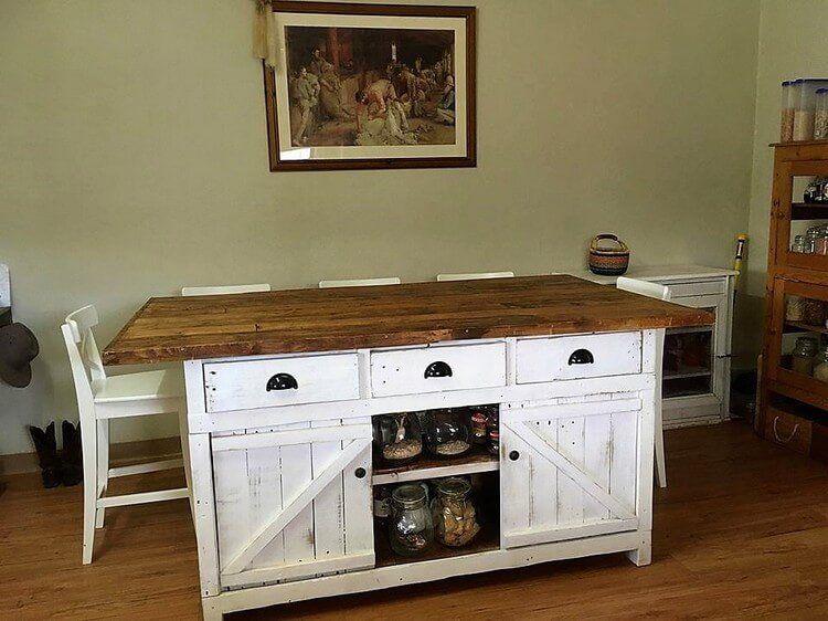 Pallet Kitchen Island with Sliding Doors