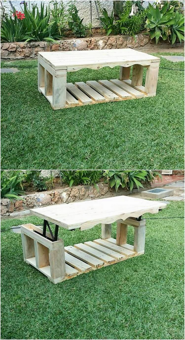 Pallet Lift Up Top Coffee Table