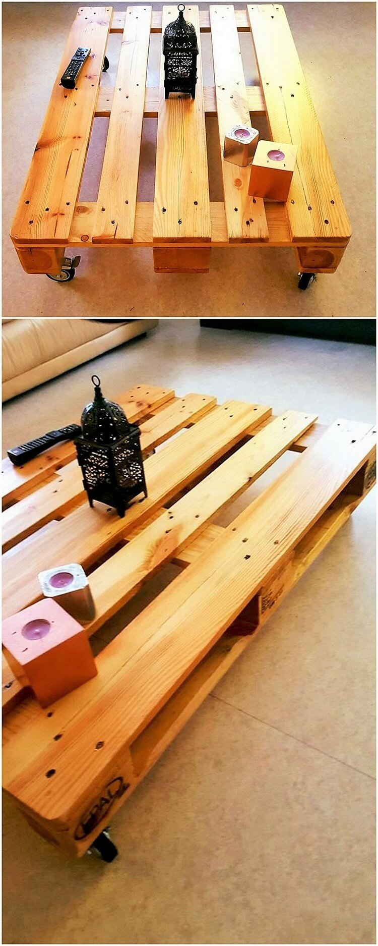 Pallet Rolling Coffee Table