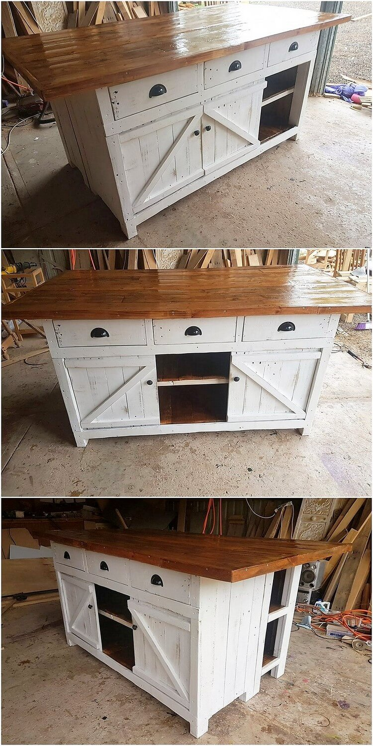 Pallet Table or Cabinet with Sliding Doors