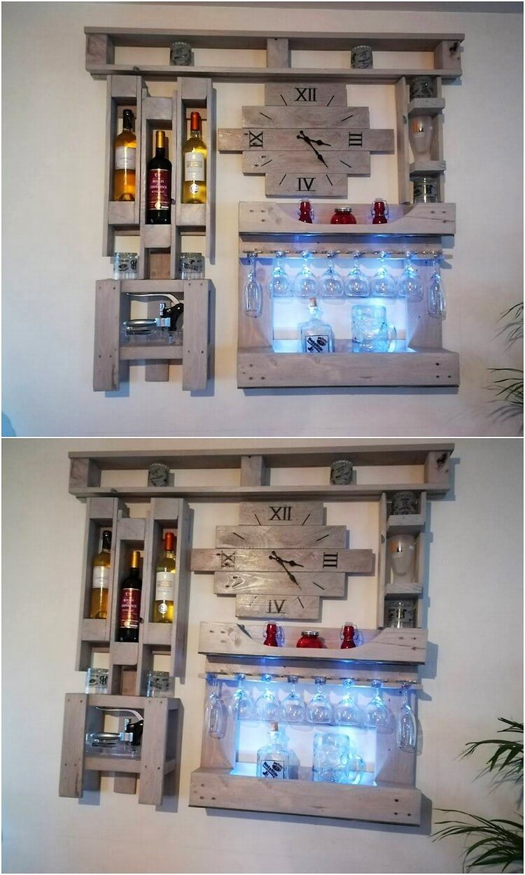 Pallet Wall Clock with Wine Rack