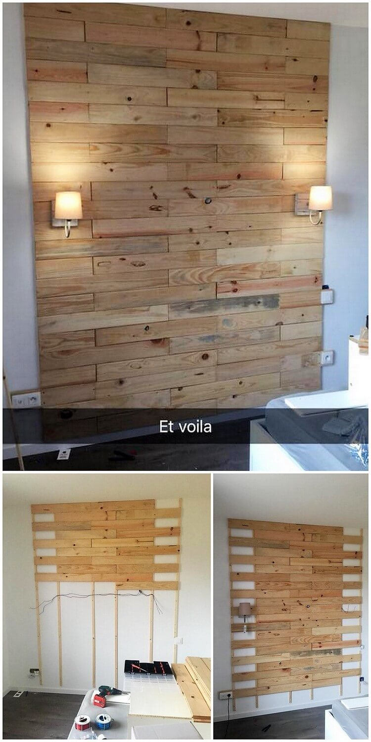 Pallet Wall Paneling : Astounding diy wood pallet recreation ideas