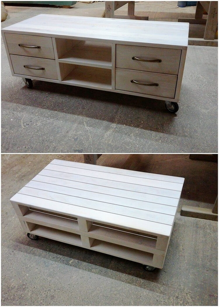 Wood Pallet Media Table with Drawers
