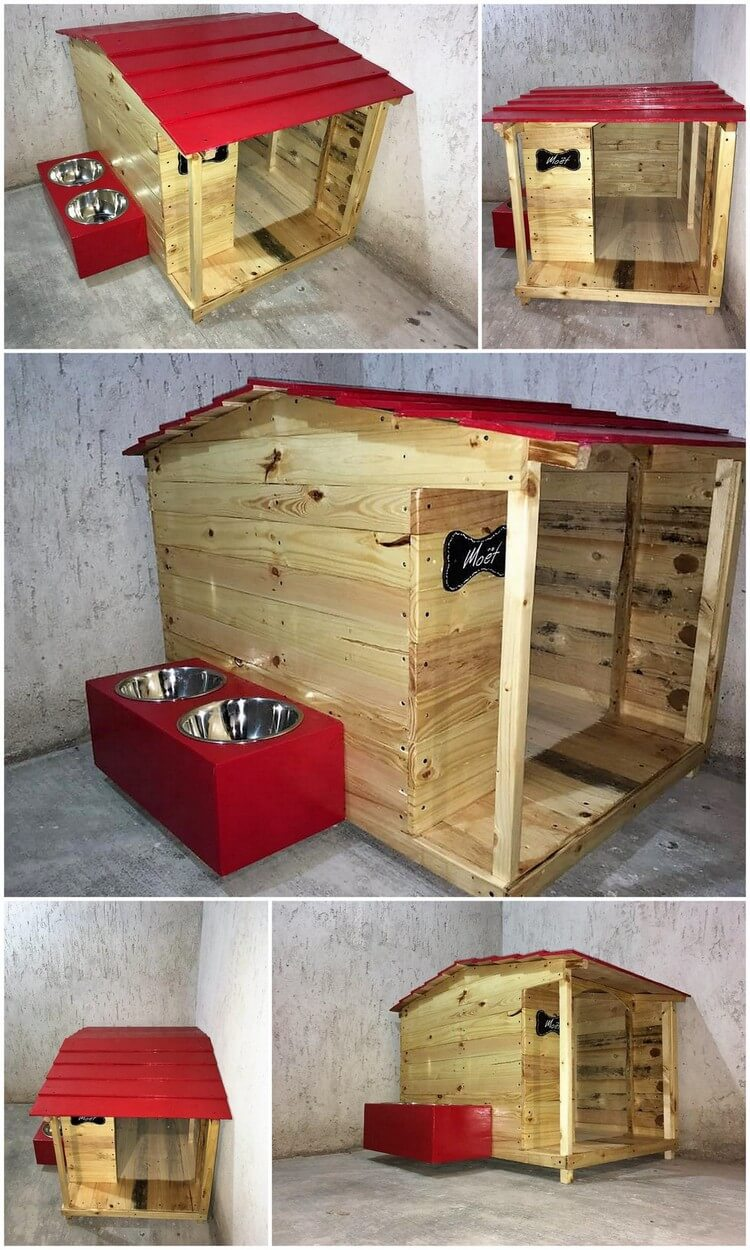 Wood Pallets Pet House with Food Feeder