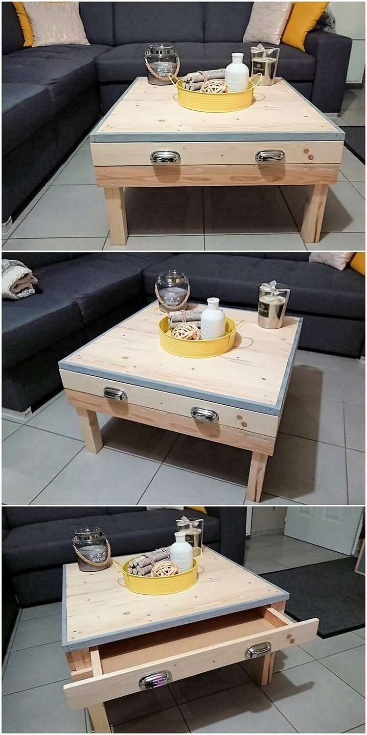 Pallet Coffee Table with Drawer