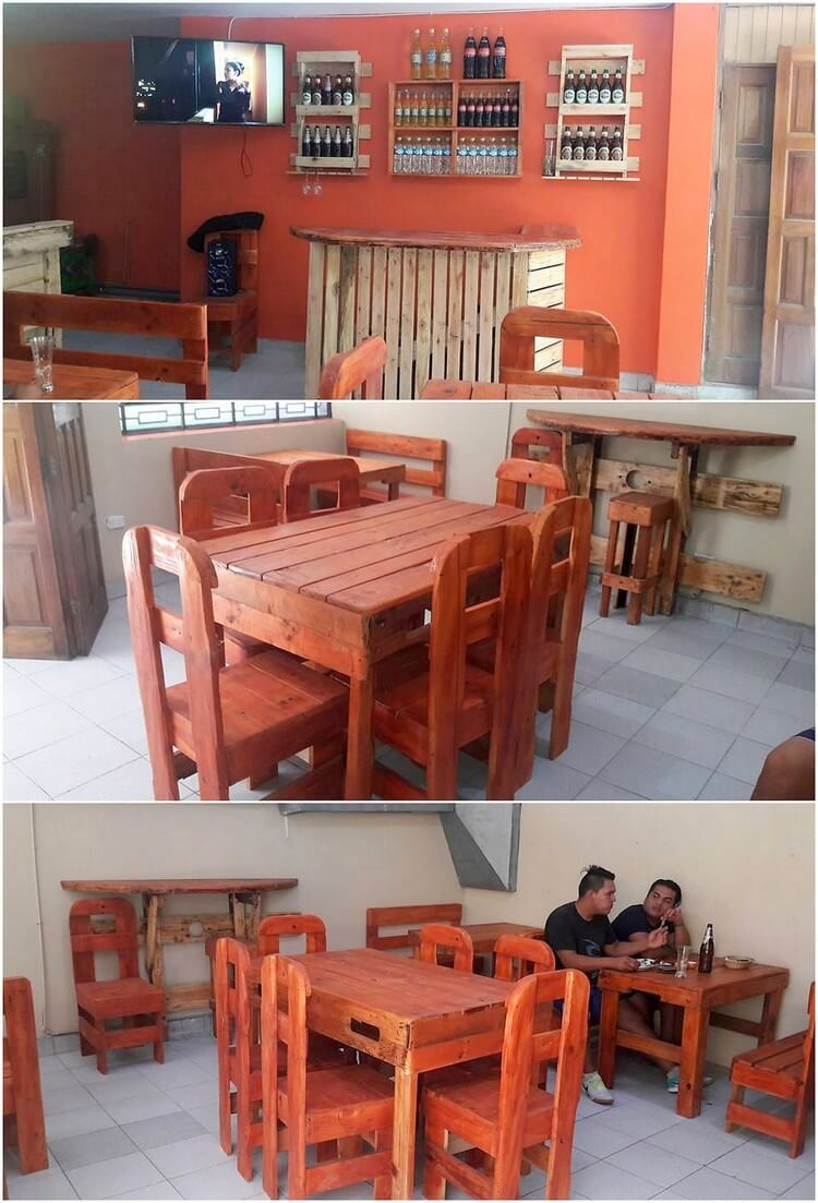 Pallet Counter Table and Dining Furniture Set