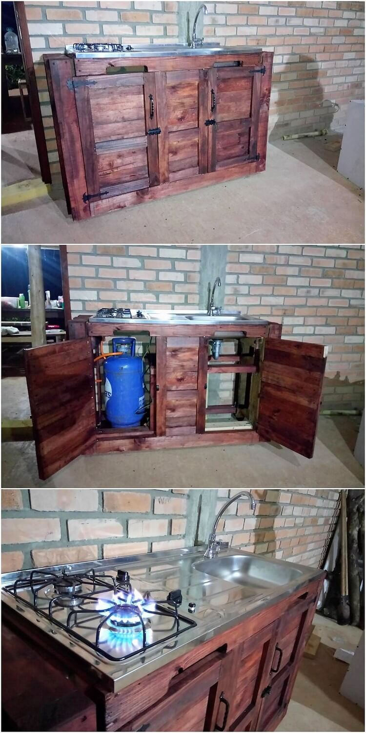 Easy to make diy projects with old pallets pallet wood for Pallet kitchen bench