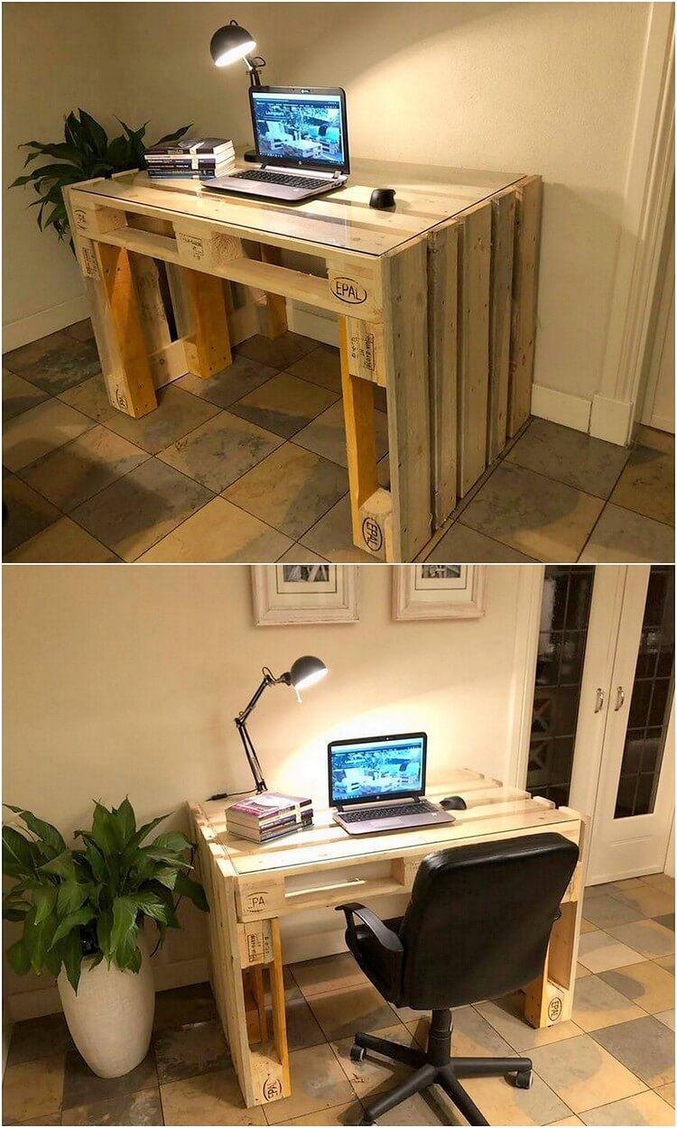 Pallet Office Or Study Table With Glass Top