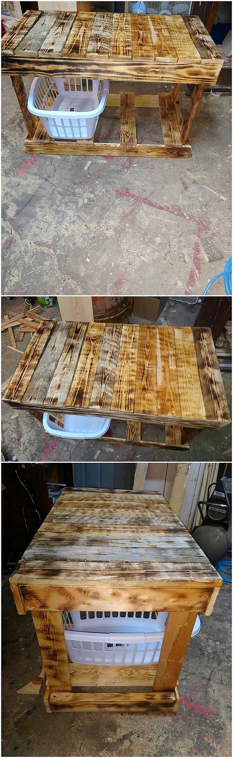 Pallet Table with Laundry Baskets