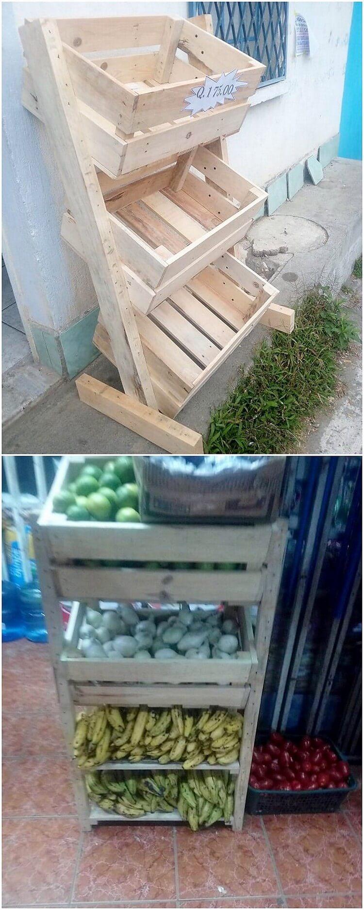 Wood Pallet Vegetables and Fruits Rack