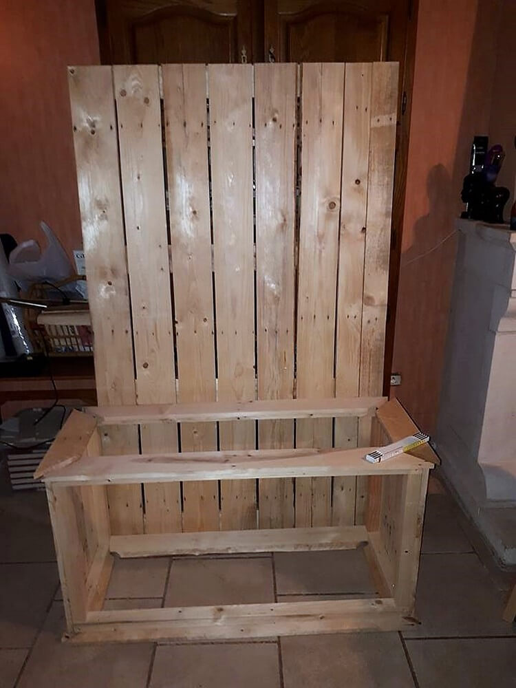 Diy Pallet Hall Tree Entryway Bench Pallet Wood Projects