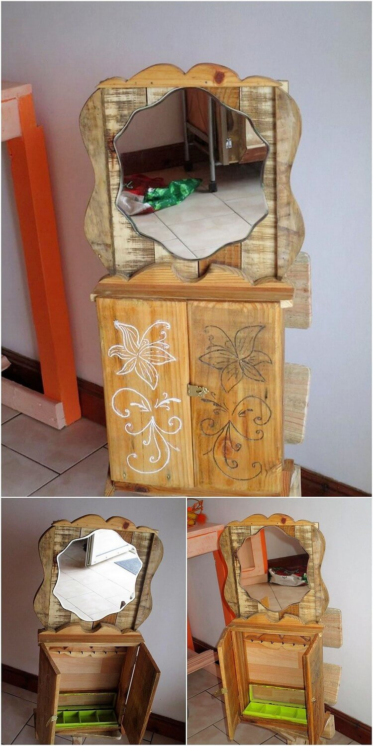 Pallet Cabinet with Mirror