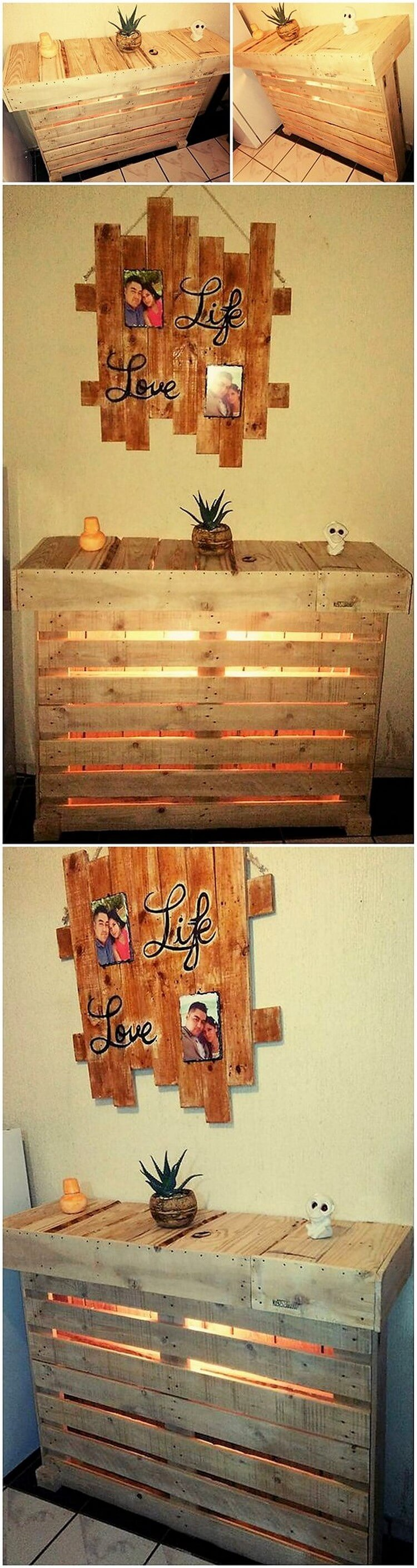 Pallet Entryway Table with Lights