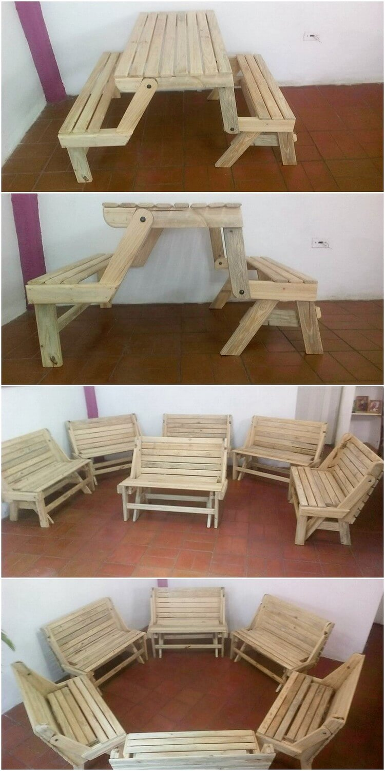 Pallet Folding Table and Bench