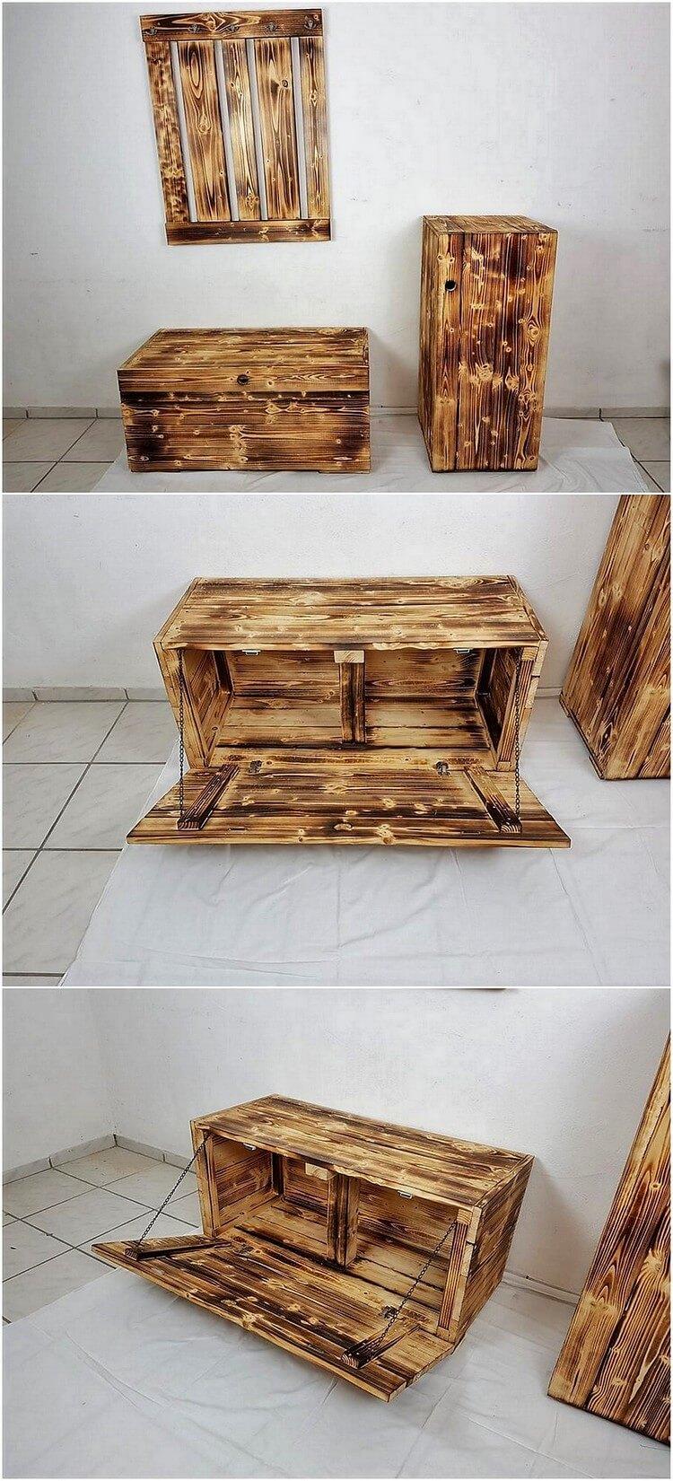 Pallet Storage Box and Coat Rack