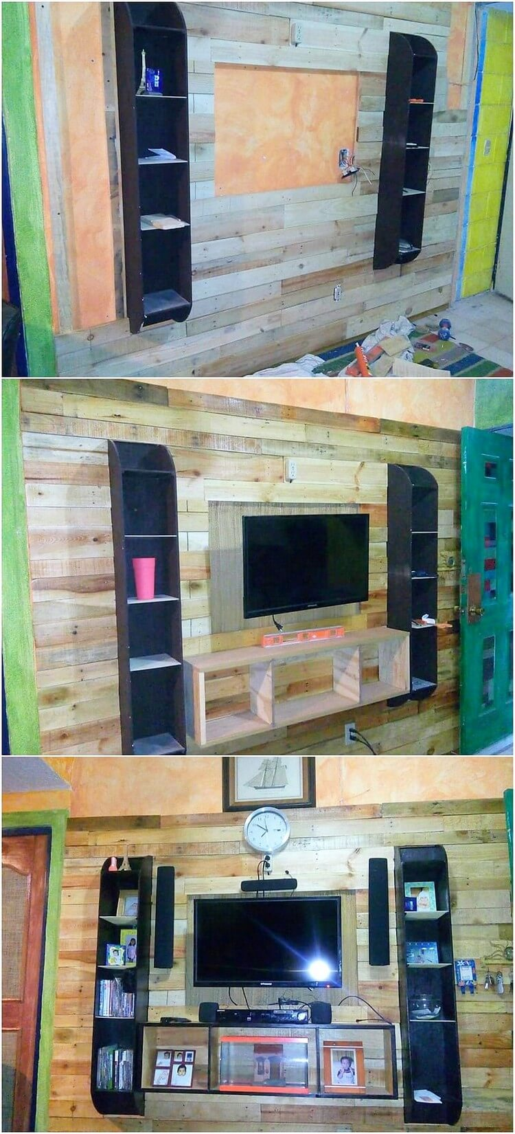 Pallet Wall Paneling with Entertainment Center