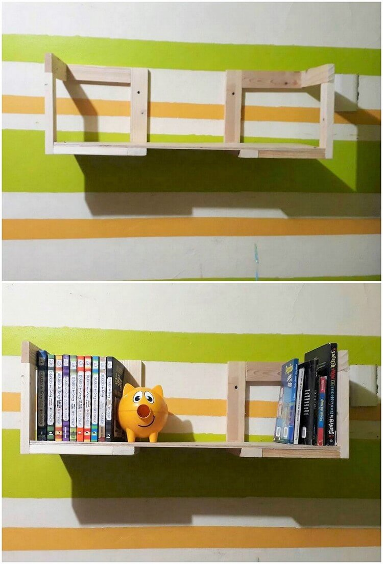 Pallet Wall Shelf or Bookshelf