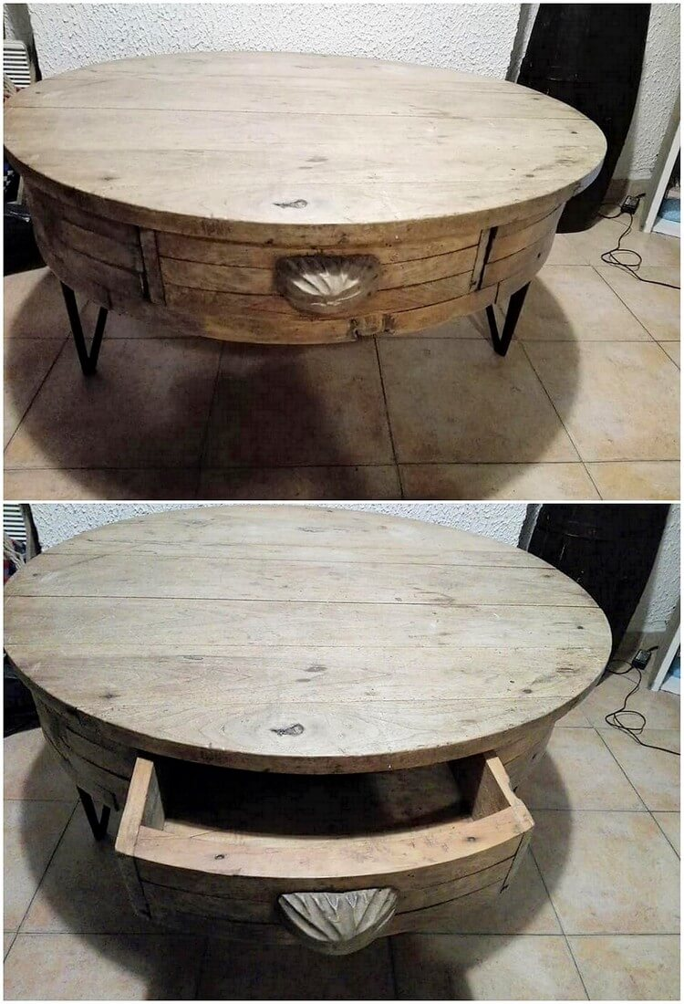 Round Top Pallet Table with Drawer