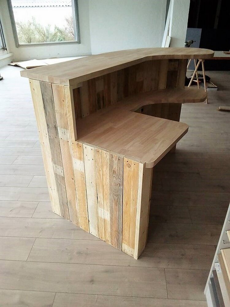 Wood Pallet Shop Counter Or Reception Desk Pallet Wood