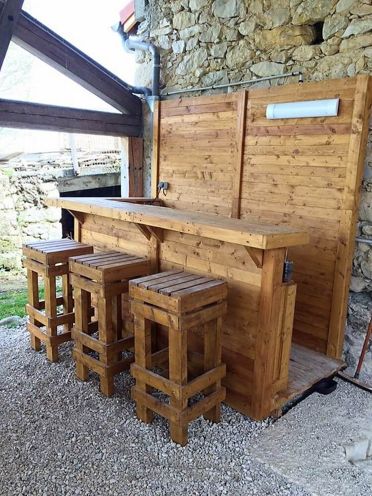 Pallet Bar and Stools