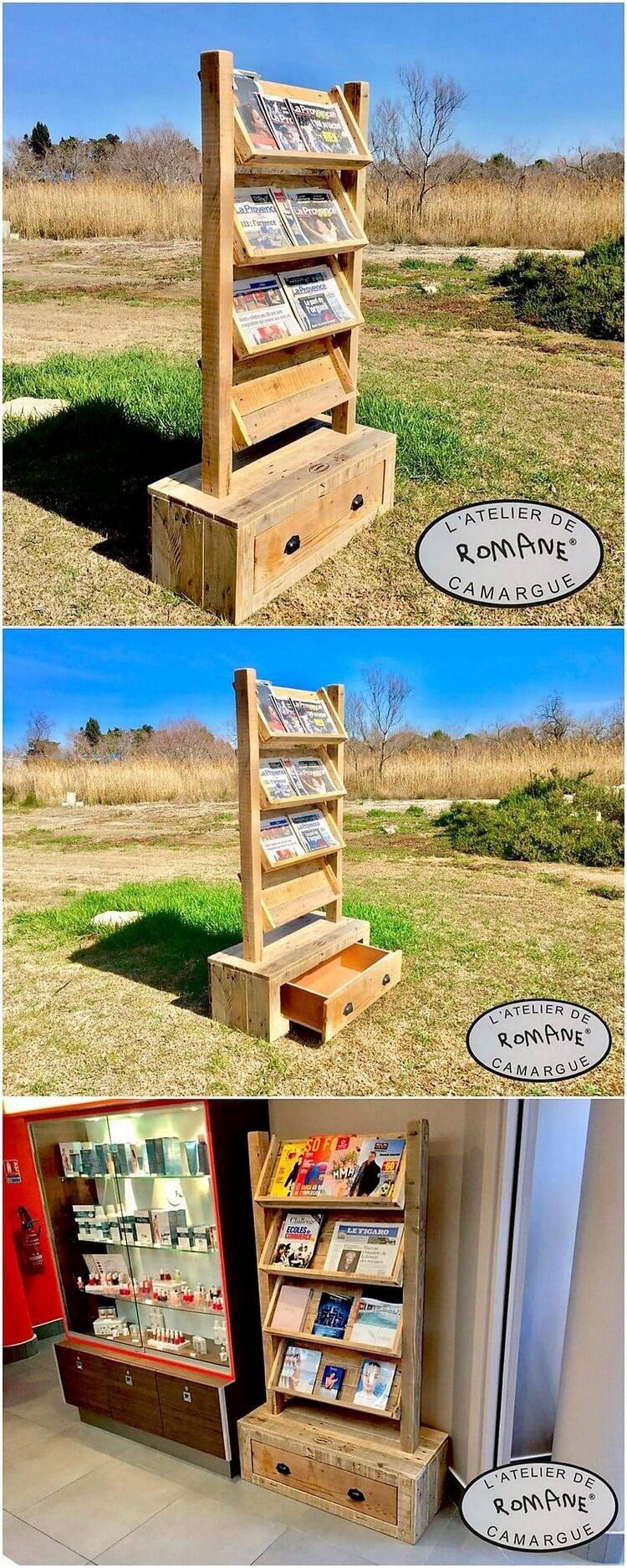 Pallet Bookshelf with Drawers