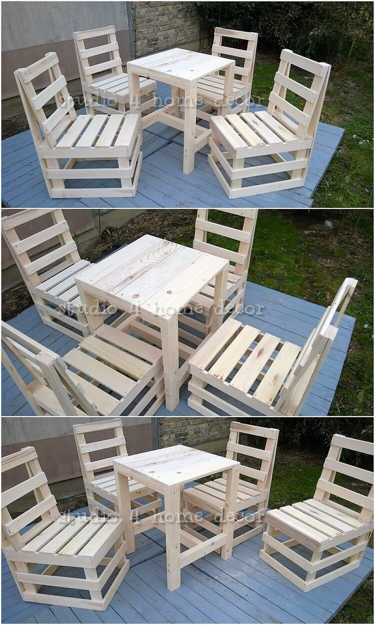 Pallet Chairs and Table Furniture Set