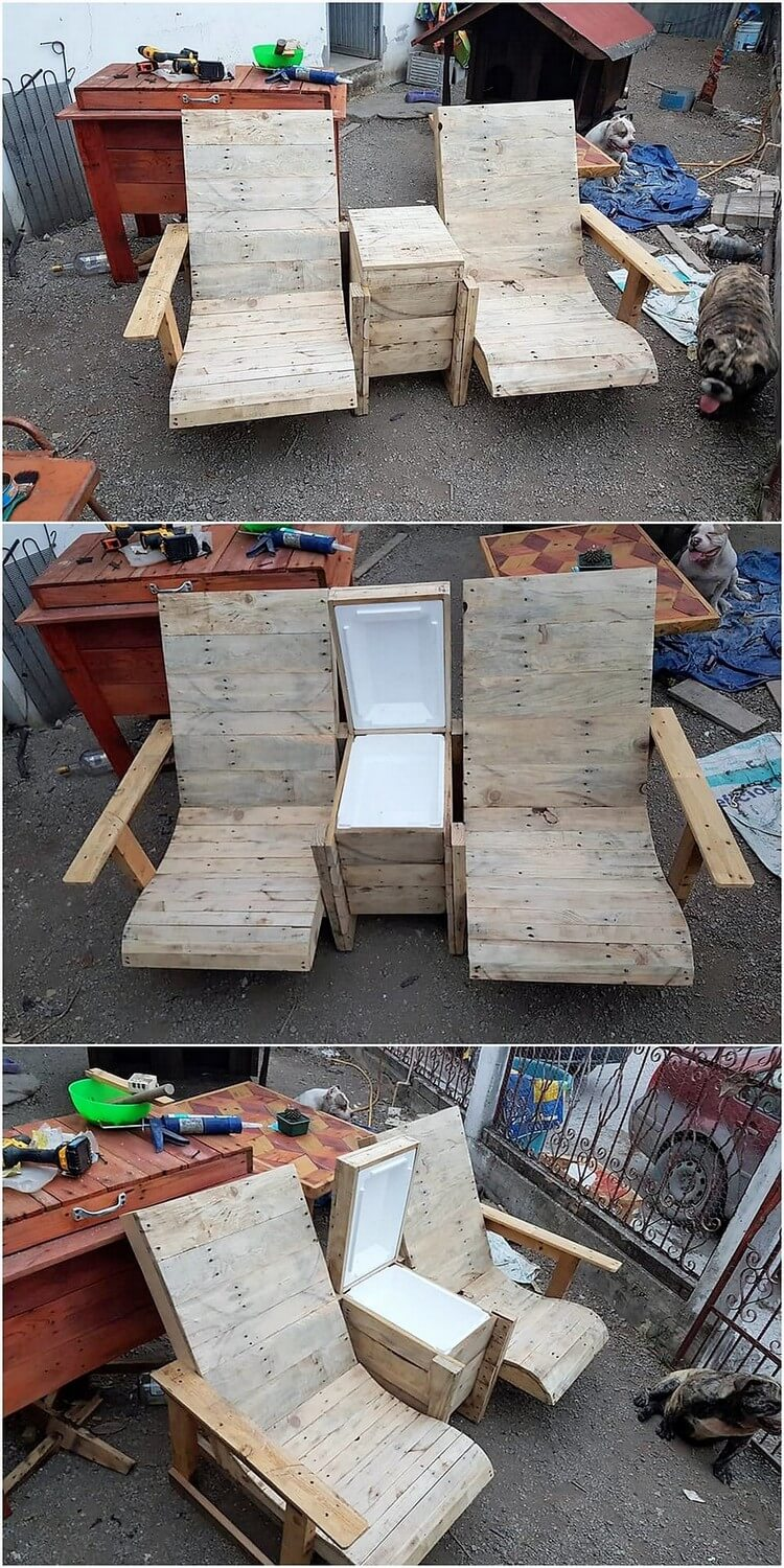 Pallet Chairs with Storage or Cooler