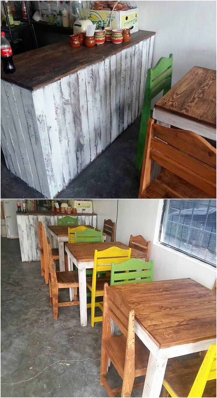 Pallet Counter Table and Furniture Set