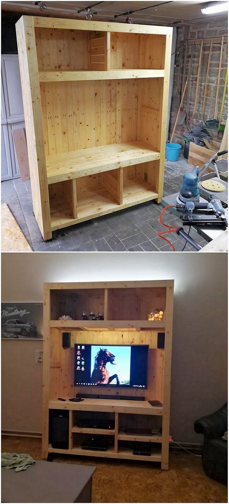 Pallet Cupboard with LED Holder