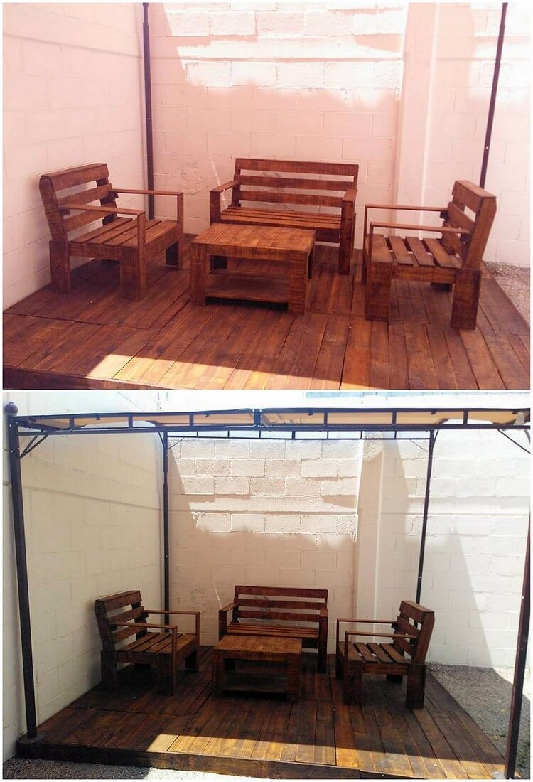 Pallet Furniture Set with Terrace