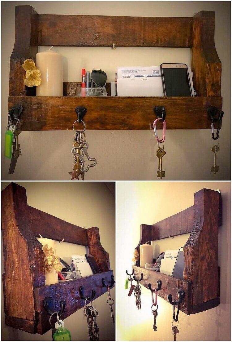 Pallet Shelf with Key Rack Combo