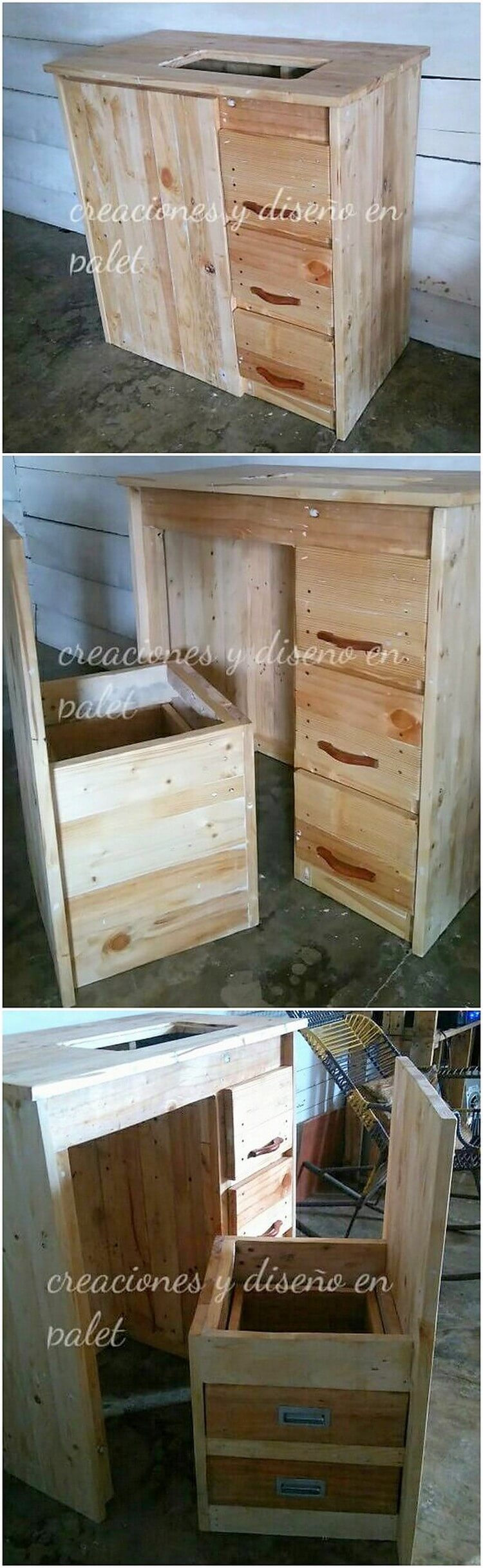 Pallet Study Table with Drawers and Chair