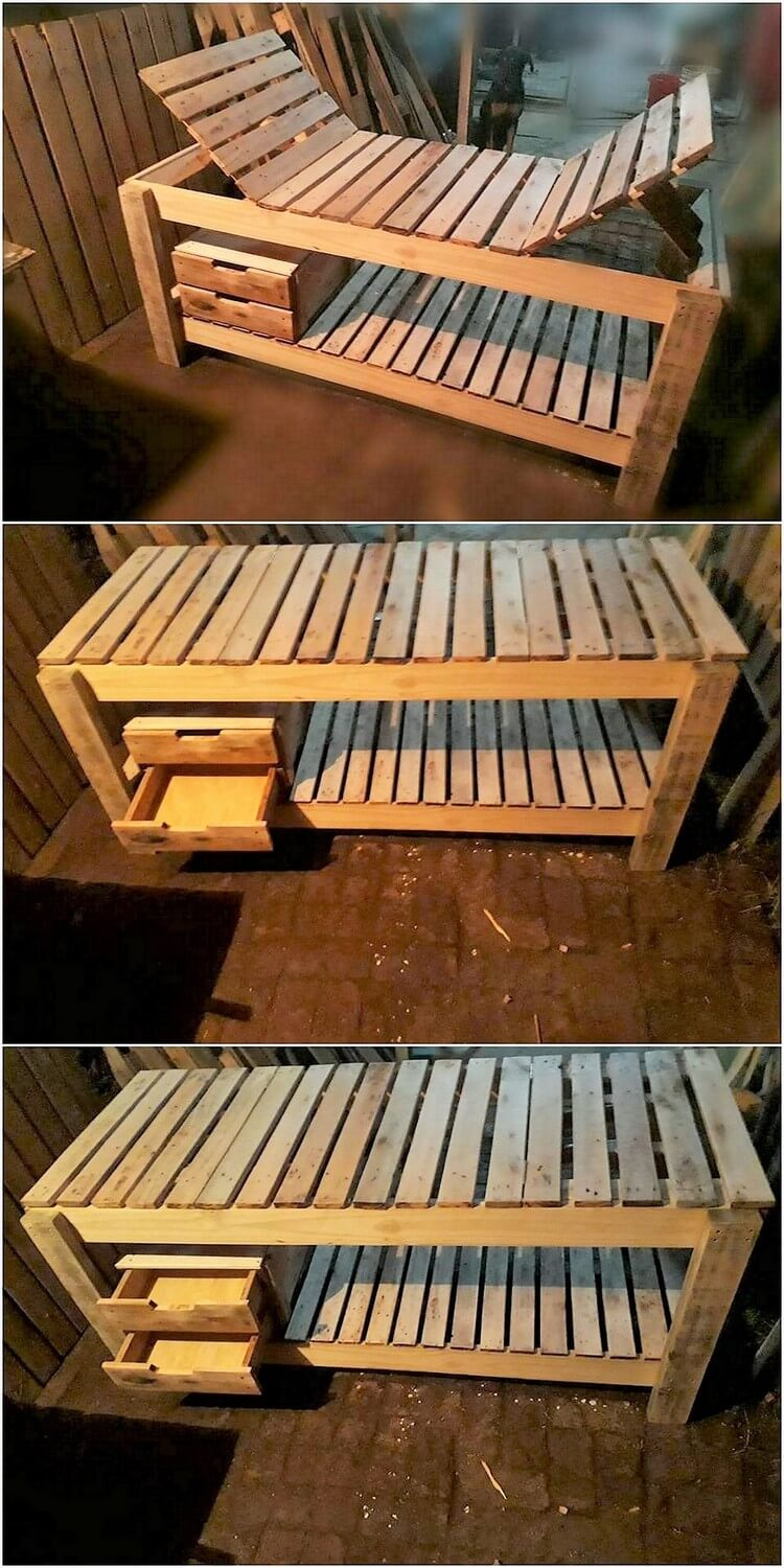 Pallet Sun Lounger with Drawers