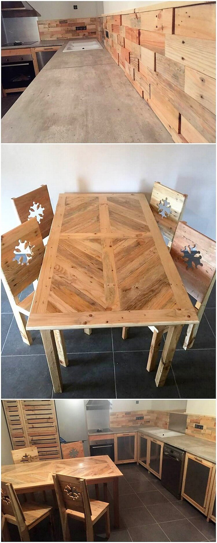 Pallet Wall Paneling and Dining Furniture
