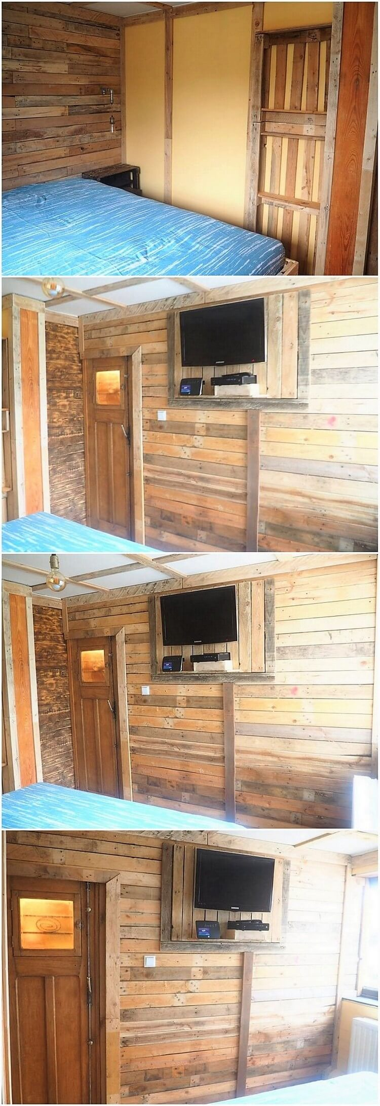 Pallet Wall Paneling with LED Holder