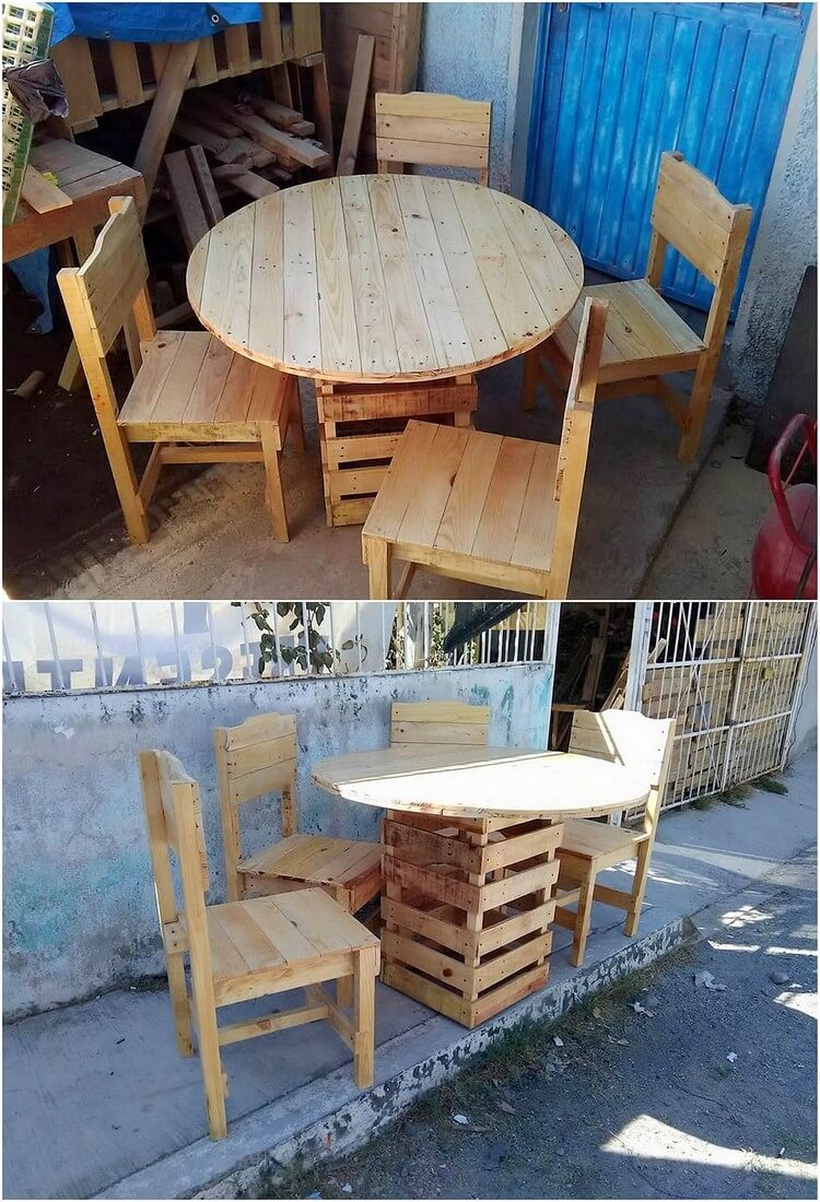 Round Top Pallet Table and Chairs