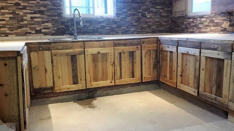 Cabinets made from pallet wood